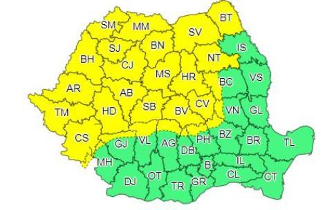 Cod galben de ploi torenţiale, vijelii şi grindină, duminică, în Maramureş, Crişana, Banat, Transilvania şi nordul Moldovei
