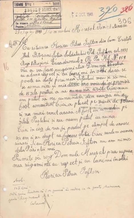 """Scrisoarea unei tărănci către Mareșalul Antonescu: """"Dacă e pierdut pe câmpul de onoare, să am și eu drept ca fiecare soție""""..."""