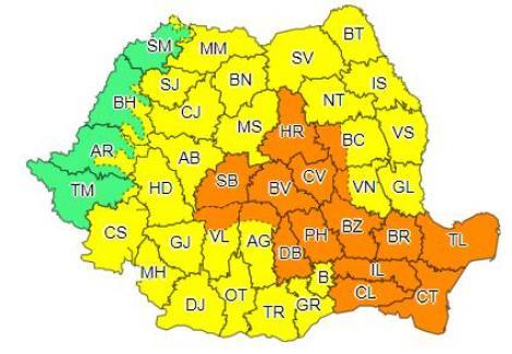 Cod portocaliu de vijelii, ploi torenţiale, descărcări electrice şi grindină, în sudul şi estul Transilvaniei, în zona Carpaţilor de Curbură, local în Muntenia şi în cea mai mare parte a Dobrogei