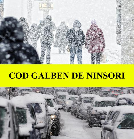 ANM: Cod Galben de ninsori abundente și vânt puternic din această seară, până miercuri. Iată regiunile afectate de vremea rea