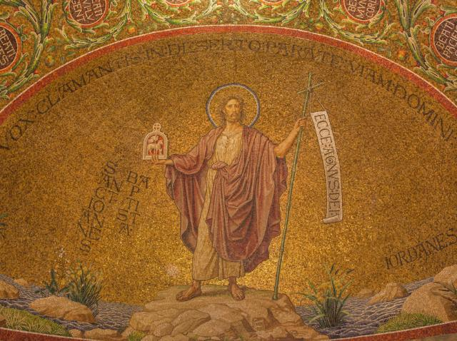 Mozaic cu Sfântul Ioan Botezătorul, la Abația Adormirii de la Ierusalim