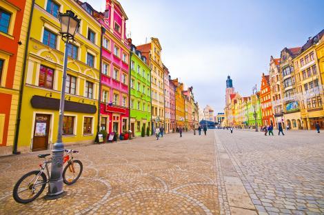 Wroclaw, Polonia, cladiri si o bicicleta