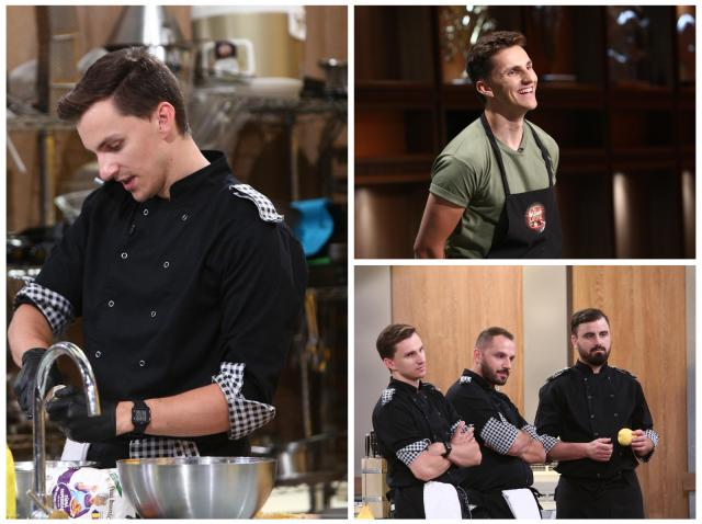 Colaj cu Cristi Boca, purtând șorțul emisiunii Chefi la cuțite, respectiv uniforma echipei Carourilor
