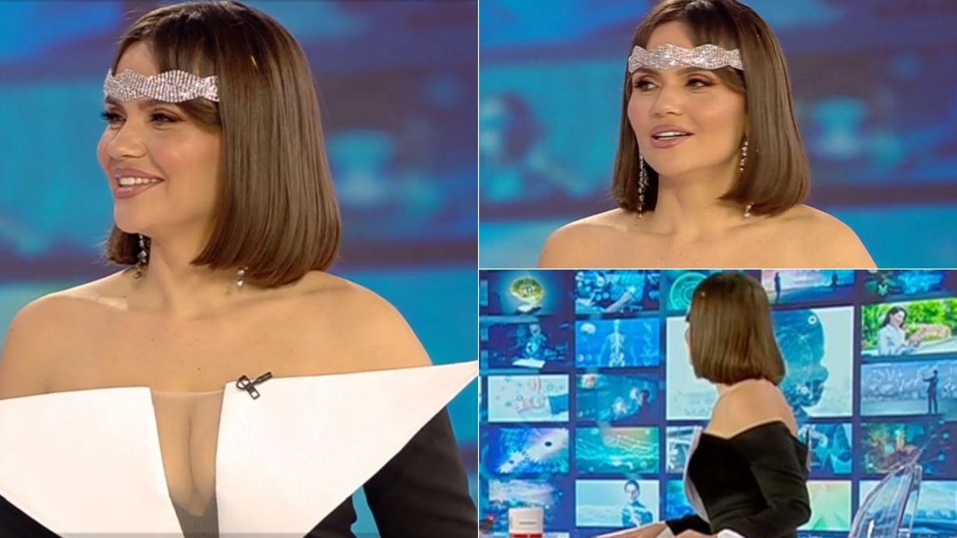 Cristina Siscanu intr-o rochie foarte decoltata in platoul observator unde a vorbit despre mamici cu lipici