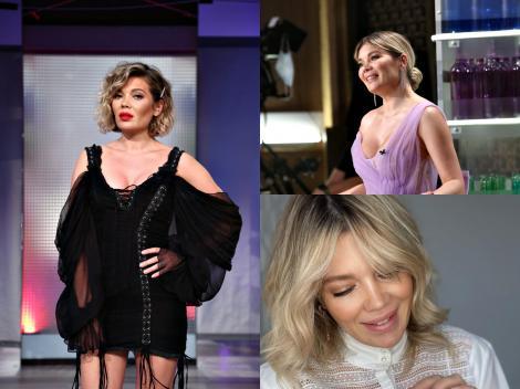 Colaj cu Gina Pistol, purtând o rochie neagră, una violet și o bluză albă