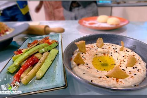 Hummus cu legume trase la tigaie