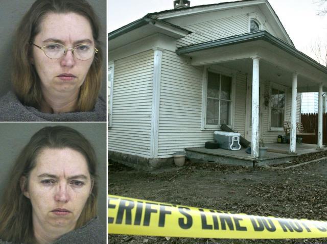 Colaj de imagini cu Lisa Montgomery si casa unde a ucis o femeie