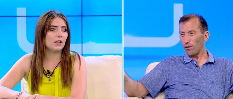 """Colaj foto cu Vulpița Veronica și Viorel Stegaru în platoul emisiunii """"Acces Direct"""" de la Antena 1"""