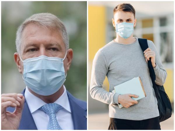 Colaj cu Klaus Iohannis, purtând mască de protecție și un elev, purtând, de asemenea, mască