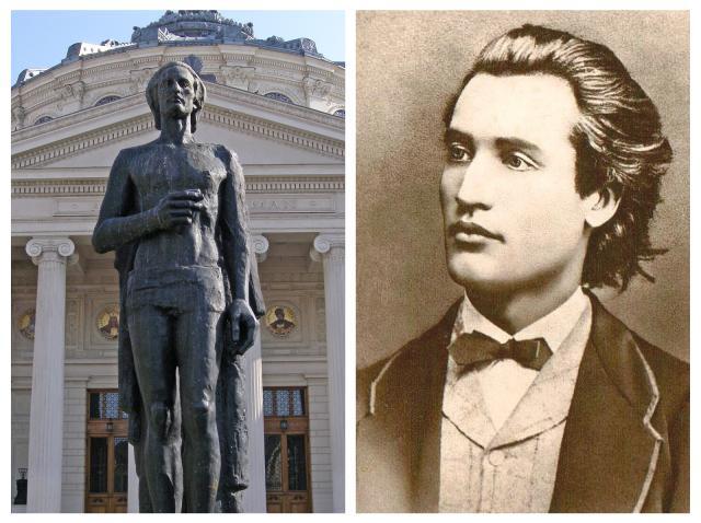 Statuia lui Mihai Eminescu de la Atenetul Român și portretul petului de la vârsta de 19 ani