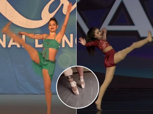 gabi shull, micuta dansatoare care are doar un picior, in timp ce danseaza