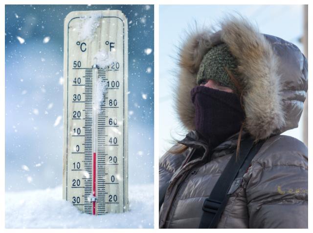 Termometru care indică temperaturi negative și o femeie purtânf geacă, glugă și fular