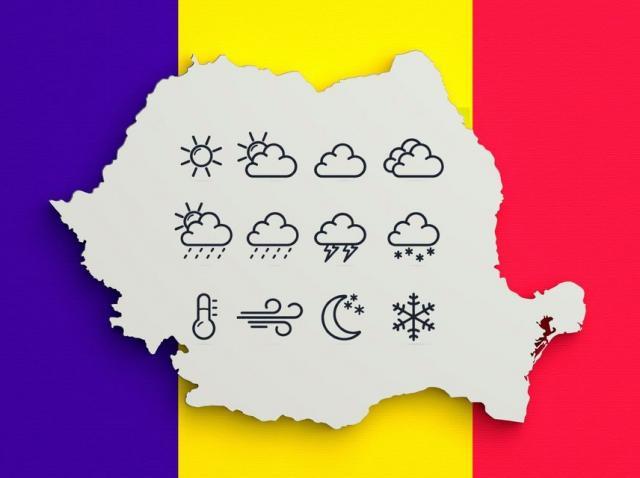 Harta României ce are in fundal steagul Romaniei
