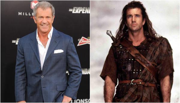 Colaj Mel Gibson cu el pe covorul rosu si el in filmul braveheart