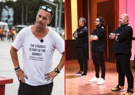 """Colaj foto cu Răzvan Fodor (stânga) și cei trei jurați ai emisiunii """"Chefi la cuțite"""" (dreapta)"""