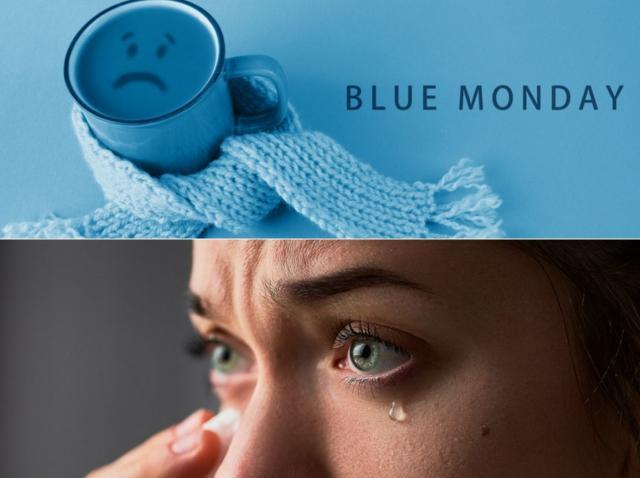 colaj de blue monday cu o femeie care este deprimata pe 18 ianuarie 2021