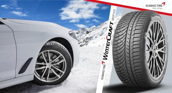 Imagine ilustrativă cu o mașină albă într-un decor de iarnă și o anvelopă