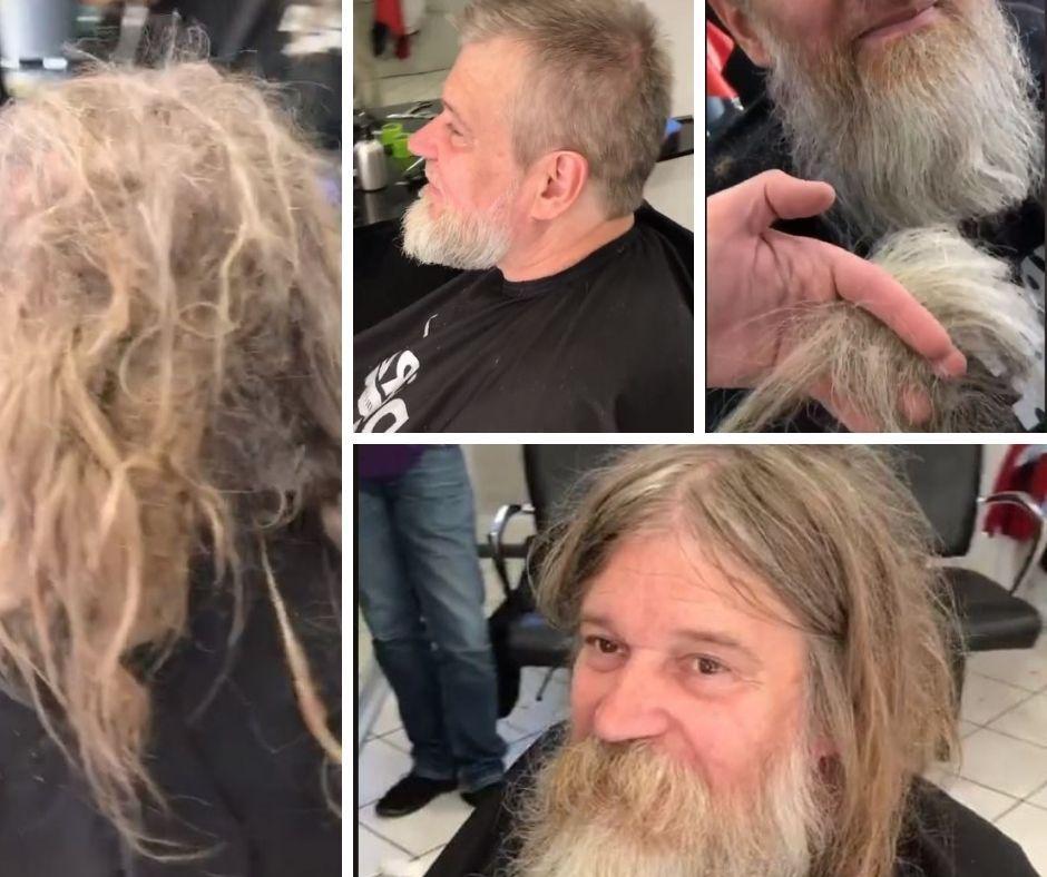 Transformare neașteptată. Un om al străzii a devenit de nerecunoscut după ce a primit ajutorul unui frizer cunoscut