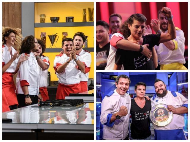 Silviu Nedelea, alături de colegii lui din echipa roșie, apoi de colegii lui din echipa albastră