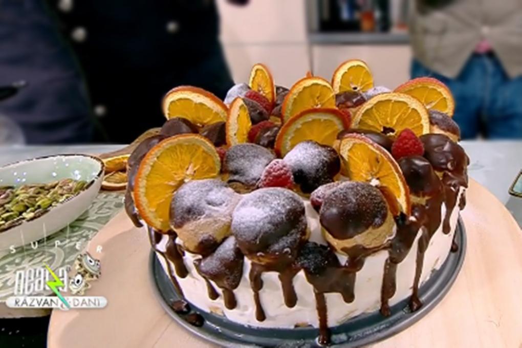 Tort cu pișcoturi și cremă de frișcă cu portocale