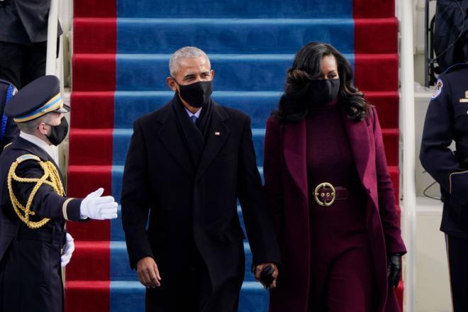 Michelle si Barack Obama in ziua inaugurarii lui Joe Biden