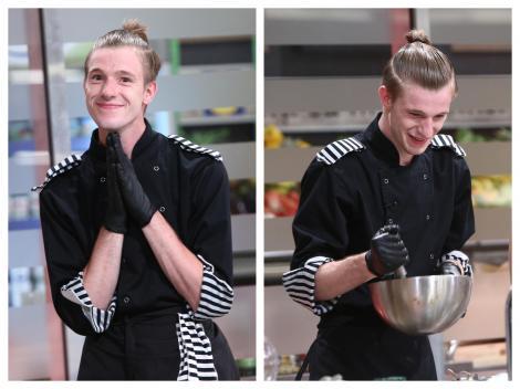 Adrian Luca, purtând uniforma de bucătar a echipei Dungilor, la Chefi la cuțite 2020