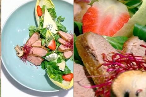 Salată cu valeriană și piept de rață
