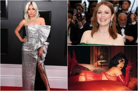 colaj lady gaga, rochie argintie, rihanna, lenjerie rosie, julianne moore, rochie verde pe covorul rosu