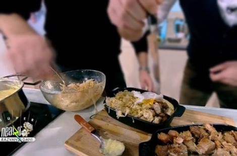 Mămăligă cu cartofi și carne de la garniță