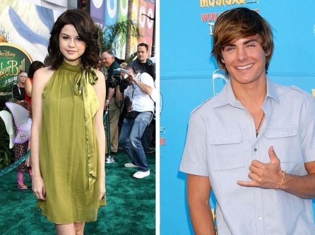 Selena Gomez intr-o rochie verde si Zac Efron intr-o camasa albastra