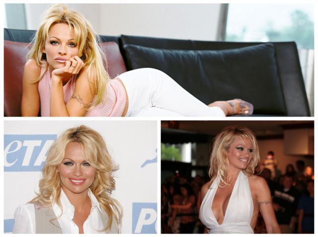 Colaj cu Pamela Anderson, purtând ținute albe