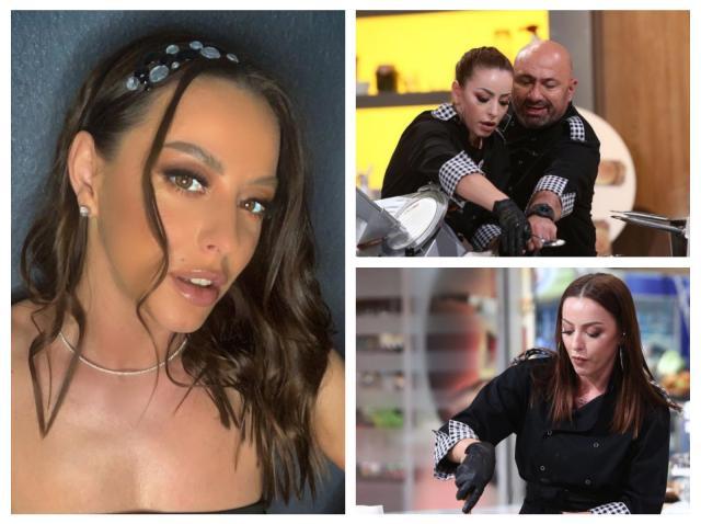Colaj cu Lavinia Ilcău: selfie, cu un accesoriu în păr și o rochie cu umerii goi și imagini cu ea și Cătălin Scărlătescu, în bucătăria Chefi la cuțite