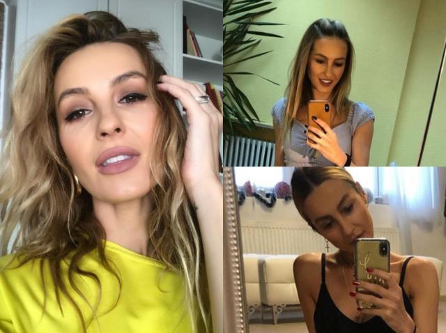 Colaj cu Flavia Mihășan: selfie într-o bluză galbenă, una în bustieră și una în maiou