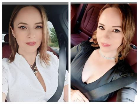 Andreea Marin, selfie-uri în mașină, purtând o cămașă albă, respectiv o rochie de piele neagră, cu decolteu adânc