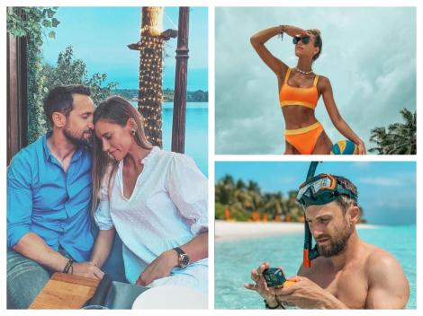 Colaj cu Dani Oțil și logodnica sa în vacanță. Gabriela poartă un costum de baie portocaliu, iar Dani face scufundări