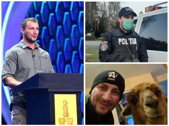 Colaj cu Marian Godină, participând la iUmor, într-o cămașă gri, în timpul serviciului, în uniforma de polițist și acasă, cu alpaca