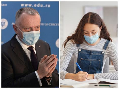 Sorin Cîmpeanu, purtând un sacou negru și o elevă susținând examen