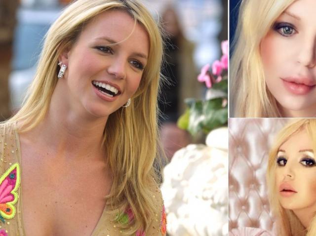 Colaj de imagini cu Britney Spears si fanul sau, Bryan Ray, care s-a operat sa semene cu ea