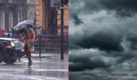 Alertă ANM! Cod Portocaliu și Cod Galben de ploi torențiale și vreme severă în România. Care sunt zonele afectate