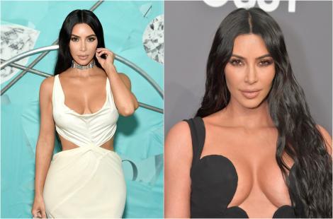 Colaj Kim Kardashian, rochie alba si rochie neagra cu decolteu