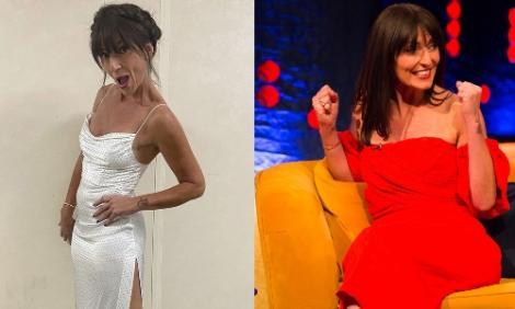 Colaj davina McCall rochie alba, rochie rosie
