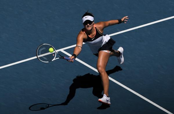 Bianca Andreescu la Australian Open 2021, însinsă după 83 de minute de joc.