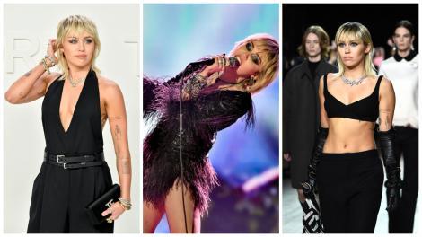 Colaj cu Miley Cyrus, purtând trei ținute negre, care îi scot în evidență formele și silueta