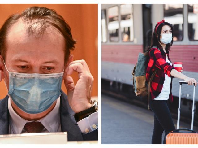 Colaj cu Florin Cîțu purtând mască și o studentă în gară, lângă tren