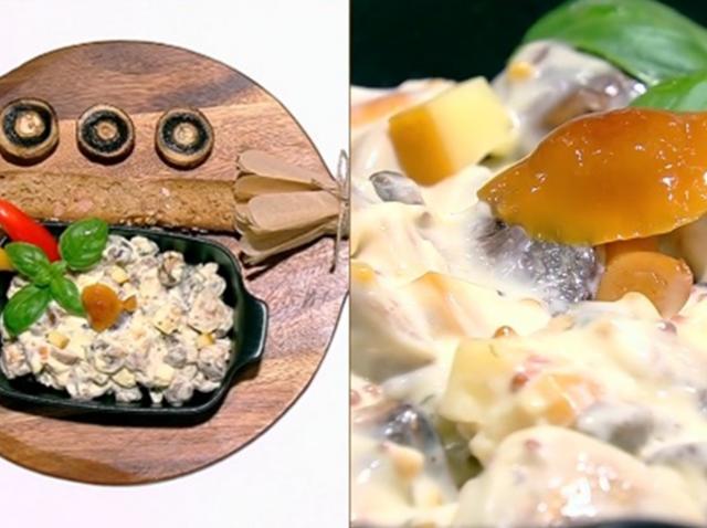 Salată aperitiv pe bază de ciuperci și murături, asezonată cu maioneză și usturoi