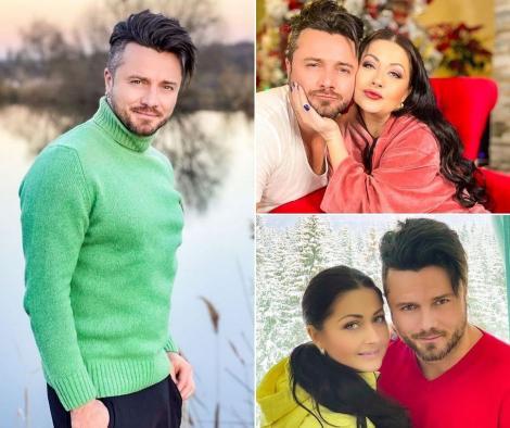 Tavi Clonda in trei ipostaze diferite, in bluza verde, roșie și albă, alaturi de Gabriela Cristea
