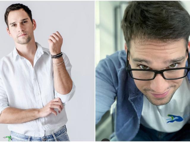 Colaj Vlad Gherman, bluza alba, bluza albastra, ochelari