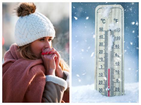 Femeie îmbrăcată gros și un termometru care arată temperaturi negative