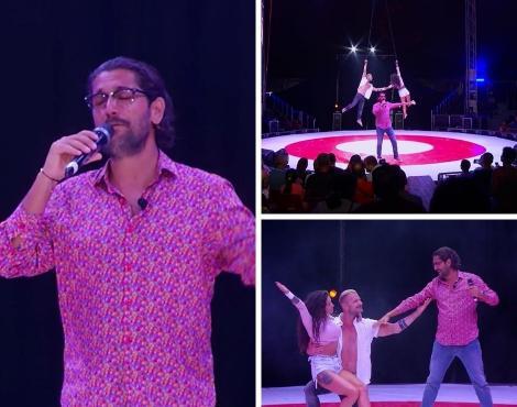 colaj foto cu Roxana Vancea și Cezar Ouatu, la Poftiți la circ, în timpul numărului lor de la circul Acquatico Bellucci