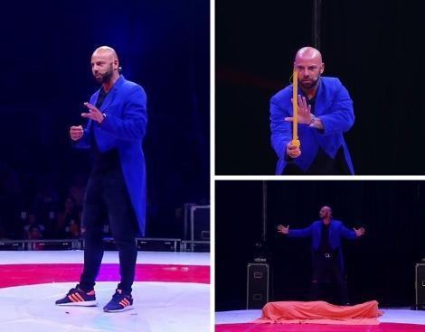 """colaj foto cu Giani Kiriță, în frac albastru, făcând un număr de magie la circul Bellucci, la emisiunea """"Poftiți la circ"""""""